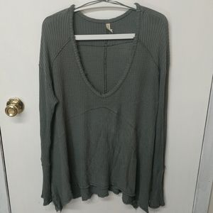 Free People army green stretchy thermal tunic m